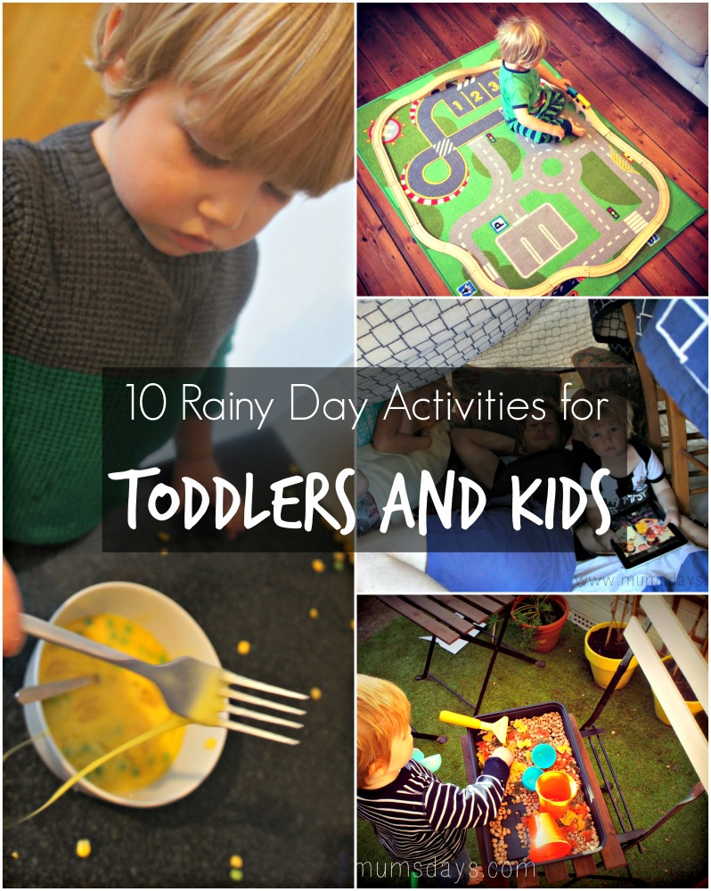 Rainy Day actives for toddlers - from toy rotation to sensory play to arts and crafts to den making to movie cuddles! Click here for 10 great ideas to keep little ones busy on rainy days: http://www.mumsdays.com/rainy-day-activities-for-toddlers