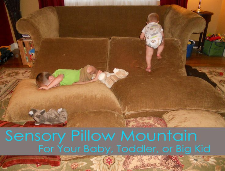 Rainy Day activities for toddlers - Sensory pillow mountain! Click here for 10 great ideas to keep little ones busy on rainy days: http://www.mumsdays.com/rainy-day-activities-for-toddlers